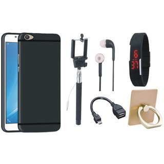 Vivo V7 Plus Silicon Slim Fit Back Cover with Ring Stand Holder, Selfie Stick, Digtal Watch, Earphones and OTG Cable