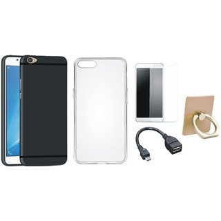 Oppo A57 Silicon Slim Fit Back Cover with Ring Stand Holder, Silicon Back Cover, Tempered Glass and OTG Cable