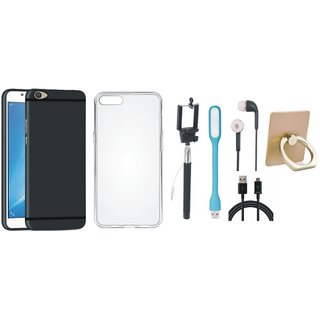 Vivo V7 Plus Silicon Slim Fit Back Cover with Ring Stand Holder, Silicon Back Cover, Selfie Stick, Earphones, USB LED Light and USB Cable