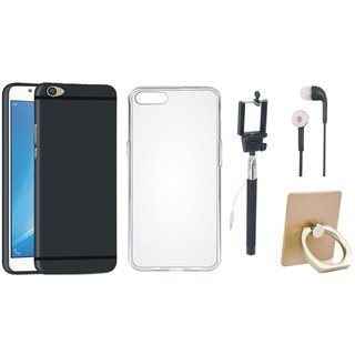 Vivo V7 Plus Silicon Slim Fit Back Cover with Ring Stand Holder, Silicon Back Cover, Selfie Stick and Earphones