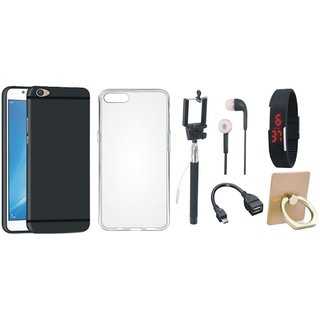 Oppo A57 Soft Silicon Slim Fit Back Cover with Ring Stand Holder, Silicon Back Cover, Selfie Stick, Digtal Watch, Earphones and OTG Cable