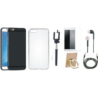 Oppo F3 Silicon Anti Slip Back Cover with Ring Stand Holder, Free Selfie Stick, Tempered Glass, Earphones and AUX Cable