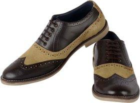 Aaiken Men's Suede Leather Oxford Shoes Casual Lace up Dress Shoes Color Brown  Beige