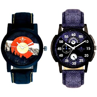 Latest Blue And Winter Mount Themes Men's Combo Analog Wrist Watch By Ganesha Exim