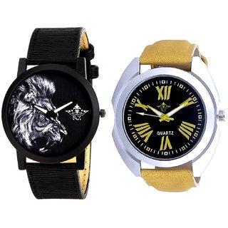 Roman Digits Special Design And White Lion Men's Combo Quartz Watch By Ganesha Exim
