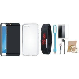 Oppo A57 Silicon Slim Fit Back Cover with Ring Stand Holder, Free Digital LED Watch, Tempered Glass, LED Light and Earphones