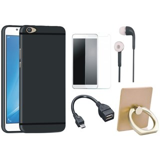 Oppo A57 Silicon Slim Fit Back Cover with Ring Stand Holder, Tempered Glass, Earphones and OTG Cable