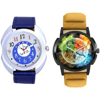 Stylish 3D Designer And Almight Blue Round Dial Casual Analog Combo Men's Watch BY Harmi Exim