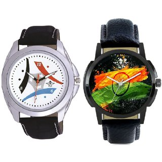 Indian Flage And Luxury Design 3 Fan Analogue Men's Combo Watch BY Harmi Exim