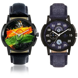 Indian Flage And Latest Blue Casual Analog Combo Men's Watch BY Harmi Exim