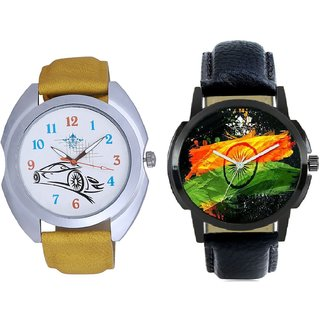 Indian Flage And Rolls-Royce Car Men's Combo Wrist Watch BY Harmi Exim
