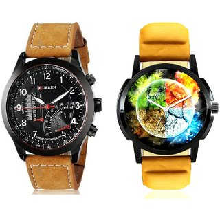 Stylish 3D Designer And Curren Meter Leather Hand Strap Quartz  Combo Analogue Wrist Watch BY Harmi Exim
