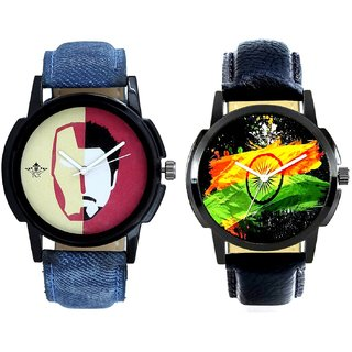 Indian Flage And Rocky Men's Analogue Men's Combo Wrist Watch BY Harmi Exim