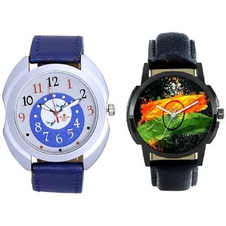 Indian Flage And Almight Blue Round Dial Casual Analog Combo Men's Watch BY Harmi Exim