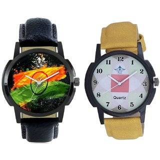 Indian Flage And Luxury Square Design Analogue Men's Combo Watch BY Harmi Exim