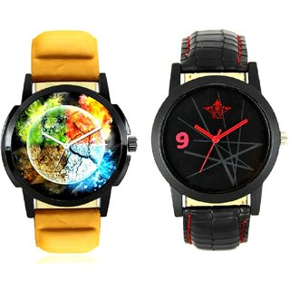 Stylish 3D Designer And Star Design Casual Analog Combo Men's Watch BY Harmi Exim