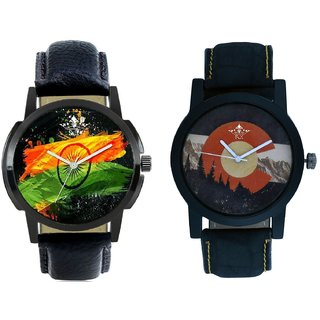 Indian Flage And Winter Mount Themes Men's Combo Analog Wrist Watch BY Harmi Exim