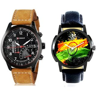 Indian Flage And Curren Meter Leather Hand Strap Quartz  Combo Analogue Wrist Watch BY Harmi Exim