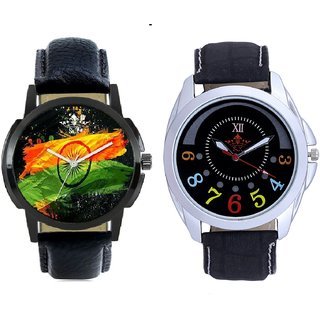 Indian Flage And Classical Black Round Dial Men's Combo Quartz Watch BY Harmi Exim
