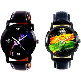 Indian Flage And Black Cigar Dial Quartz Analogue Combo Watch BY Harmi Exim