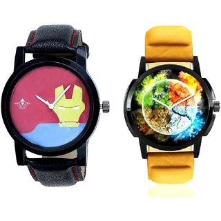 Stylish 3D Designer And Yellow Iron Men Dial Men's Combo Wrist Watch BY Harmi Exim