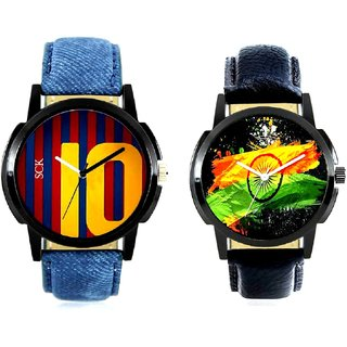 Indian Flage And Yelow 10 Analogue Men's Combo Watch BY Harmi Exim