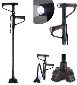 ASC 1 Pc Two Handle Get up  Go Cane Walking Stick With Torch