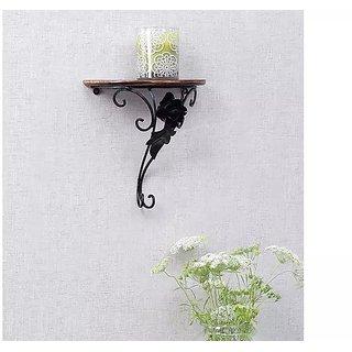 Onlineshoppee Wooden Wrought Iron Wall Rack Bracket Shelf Fancy Design