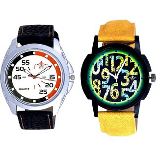 Awesome Exclusive Digits And Orange-Black Multi Dial Quartz Analogue Combo Watch By Ganesha Exim