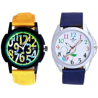Colouring Flowers And Awesome Exclusive Digits Men's Combo Casual Watch By Ganesha Exim