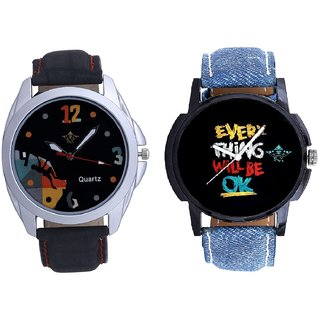 Every Thinke Will Be Ok And Goal Achived Art Men's Combo Wrist Watch By Ganesha Exim