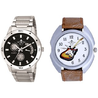 Stylish Guitar Art And Luxury Black Dial Metal Belt Men's Combo Analog Wrist Watch By Ganesha Exim
