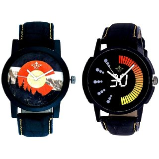 Attractive Race Dial And Winter Mount Themes Men's Combo Analog Wrist Watch By Ganesha Exim