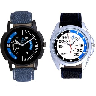 Exclusive Blue-Black Round And Awesome Blue Sport Dial Analogue Men's Combo Wrist Watch By Ganesha Exim