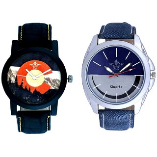 Stylish Smile Dial And Winter Mount Themes Men's Combo Analog Wrist Watch By Ganesha Exim