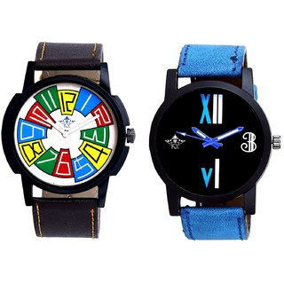 Exclusive Multi Colour And Roman White - Blue Fancy Men's Analog Combo Casual Wrist Watch By Ganesha Exim
