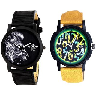 Awesome Exclusive Digits And White Lion Men's Combo Quartz Watch By Ganesha Exim