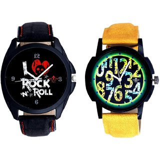 Awesome Exclusive Digits And I Love Rock N Roll Print Dial Men's Combo Analog Wrist Watch By Ganesha Exim