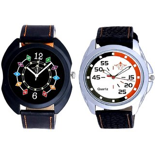 Orange-Black Multi Dial And Fancy 3D Chain Look Men's Analog Combo Casual Wrist Watch By Ganesha Exim