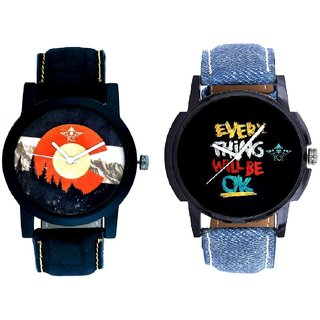 Every Thinke Will Be Ok And Winter Mount Themes Men's Combo Analog Wrist Watch By Ganesha Exim