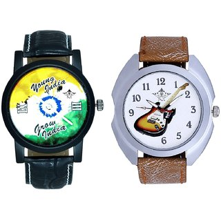 Stylish Guitar Art And Young India Grow India Men's Analog Combo Casual Wrist Watch By Ganesha Exim
