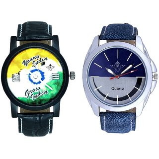Stylish Smile Dial And Young India Grow India Men's Analog Combo Casual Wrist Watch By Ganesha Exim