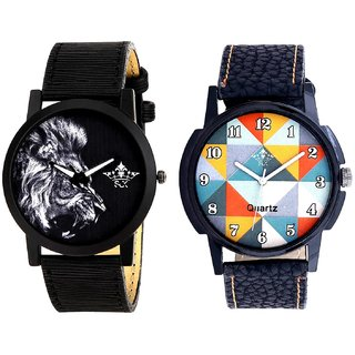 Fancy Orange Colour And White Lion Men's Combo Quartz Watch By Ganesha Exim