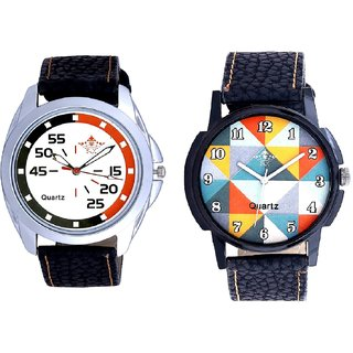Fancy Orange Colour And Orange-Black Multi Dial Quartz Analogue Combo Watch By Ganesha Exim