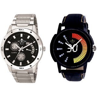 Attractive Race Dial And Luxury Black Dial Metal Belt Men's Combo Analog Wrist Watch By Ganesha Exim