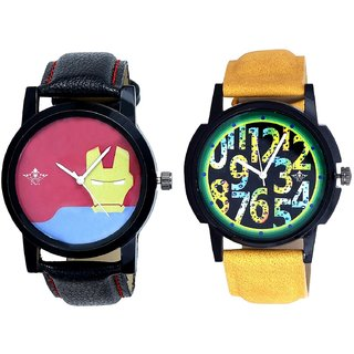 Awesome Exclusive Digits And Yellow Iron Men Dial Men's Combo Wrist Watch By Ganesha Exim