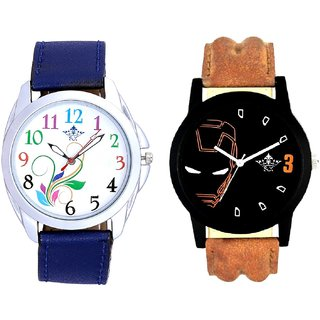 Colouring Flowers And Iron Man Quartz  Combo Analogue Wrist Watch By Ganesha Exim