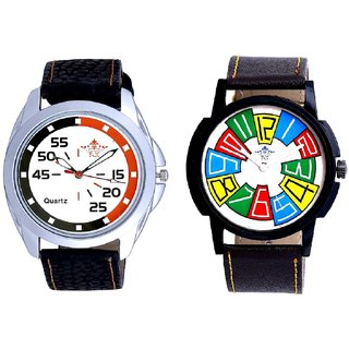 Exclusive Multi Colour And Orange-Black Multi Dial Quartz Analogue Combo Watch By Ganesha Exim