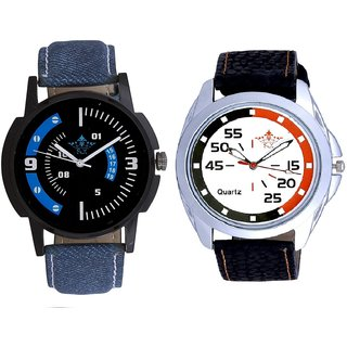 Orange-Black Multi Dial And Awesome Blue Sport Dial Analogue Men's Combo Wrist Watch By Ganesha Exim