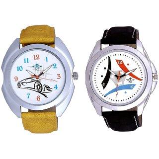 Luxury Design 3 Fan And Rolls-Royce Car Men's Combo Wrist Watch By Ganesha Exim